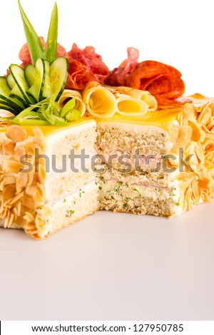 Bread cake almond pastry with cheese salami salty dessert - stock photo