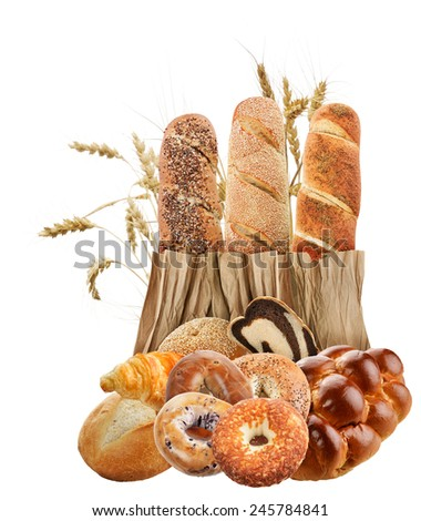 Bread Collection On White Background - stock photo