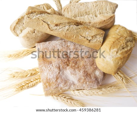 Bread composition with wheat ears - stock photo