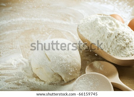 Bread cooking.Baking.Dough. - stock photo