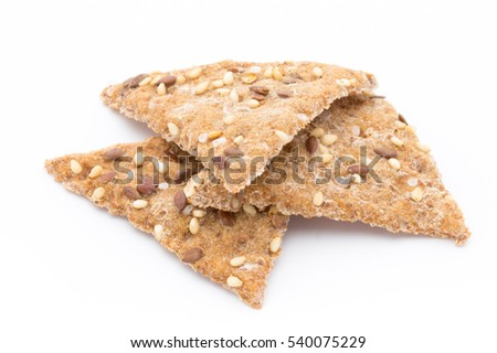 Bread crackers from grain flax seeds, sesame und spices.