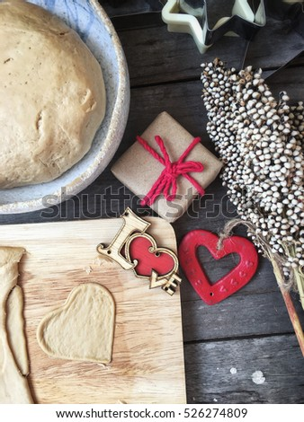 Bread dough with heart in valentine day