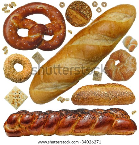 Bread, etc. A fun collection of bakery breads and cereal, rolls, bagel, croissant, cracker pretzel, oats - stock photo