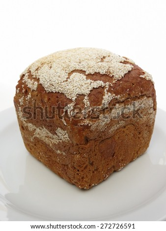 Bread food isolated over a white background - stock photo