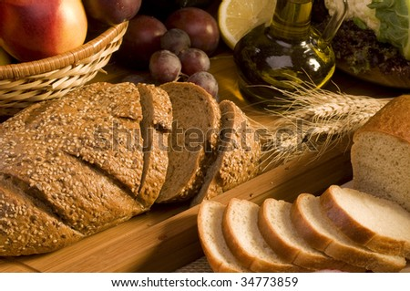 Bread food on a wood kitchen board close-up