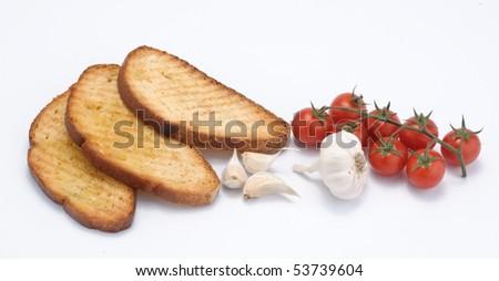 Bread for bruschetta - stock photo
