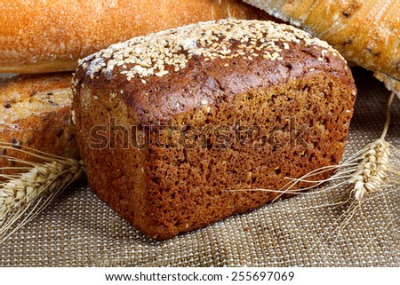 Bread from rye and wheat flour of rough grinding  - stock photo