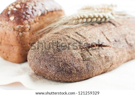 bread from wheat flour, whole wheat, close up