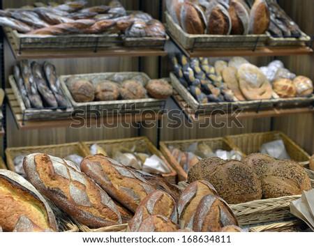 bread in a shop window - stock photo
