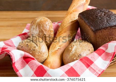 Bread in basket - stock photo