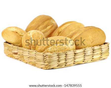 Bread in basket on a white background      - stock photo