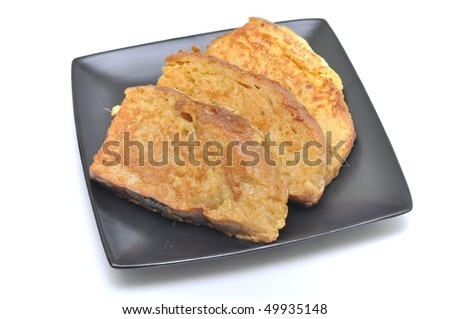bread in egg - stock photo