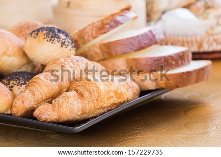 bread in the outdoor restaurant - stock photo