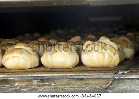 bread in the oven - stock photo