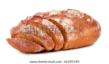 Bread isolated on white - stock photo