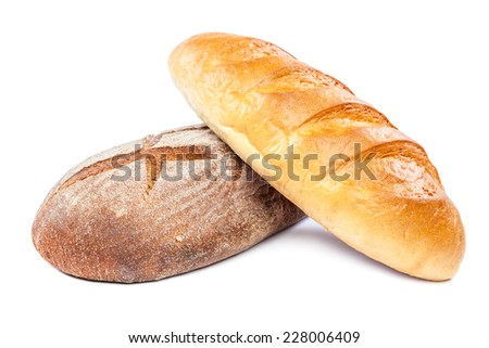 Bread isolated on white background. Wheat and rye. - stock photo