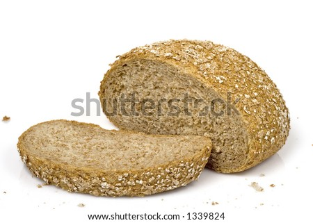 Bread loaf isolated over a white background