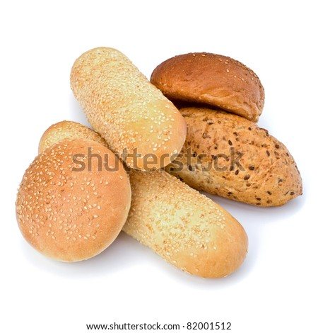 Bread loafs and buns variety isolated on white background - stock photo