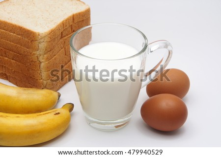 Bread, Milk, Banana And Eggs