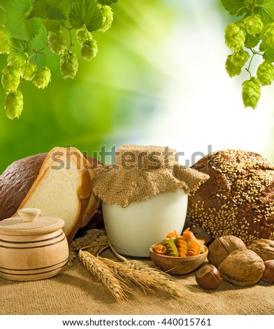 bread, nuts, wheat and dairy close up