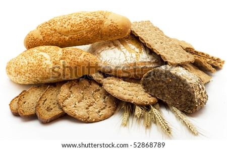 Bread of a different kind isolated on a white background - stock photo