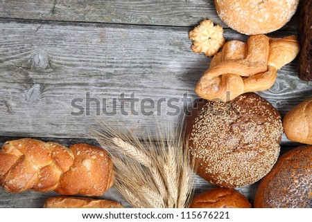 Bread on a wooden, background