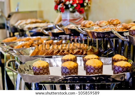Bread on buffet line. - stock photo