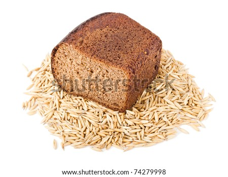 bread on cereal isolated on white - stock photo