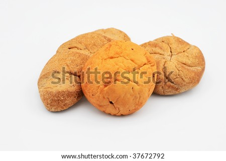 Bread on isolated white background - stock photo