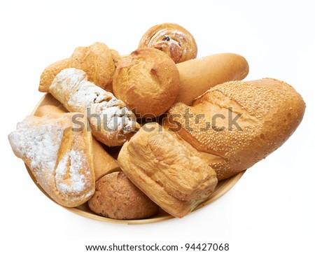Bread on the dish isolated