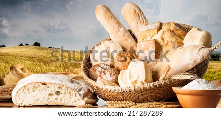 Bread on the wooden table - stock photo