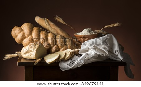 Bread on the wooden table