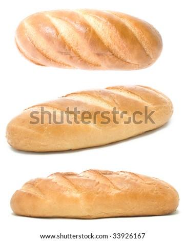 Bread on  white background - stock photo