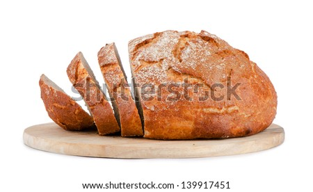 Bread on wooden surface