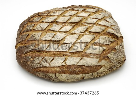 Bread over white background.