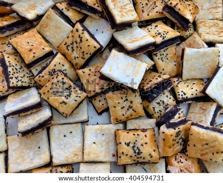 bread pieces for coffee. - stock photo