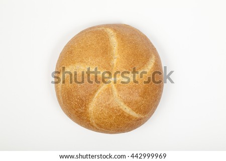 Bread roll isolated top view