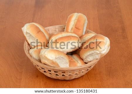 Bread rolls in a basket - stock photo
