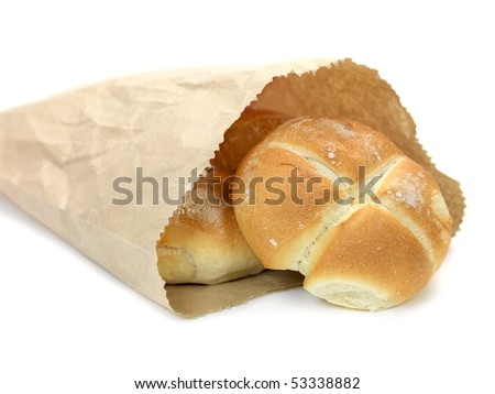 Bread rolls isolated against a white background - stock photo