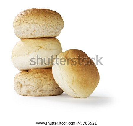 bread rolls white and brown - stock photo