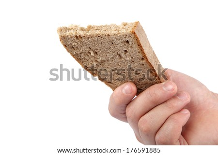 Bread slice in hand isolated on white background.