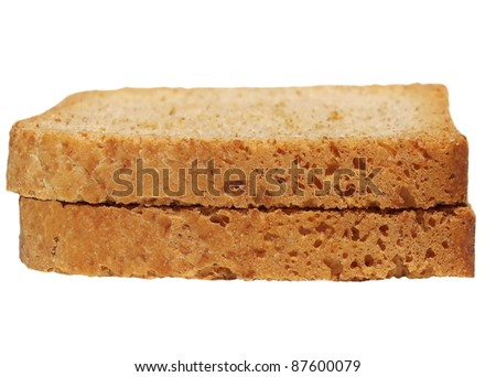 Bread slice isolated on white - stock photo
