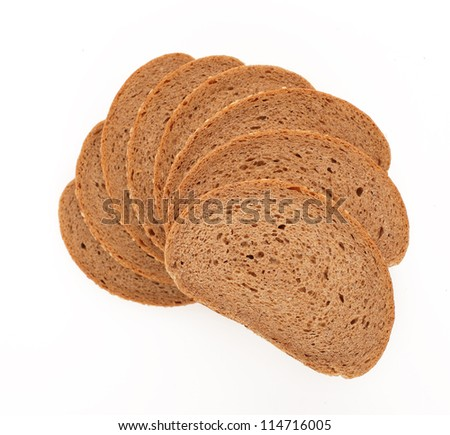 bread slice stairs isolated background white - stock photo