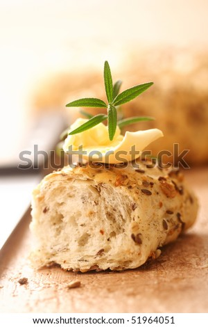 bread slice with butter, healthy eating - stock photo