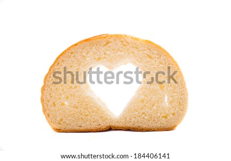 bread slice with symbol of heart isolated on white background