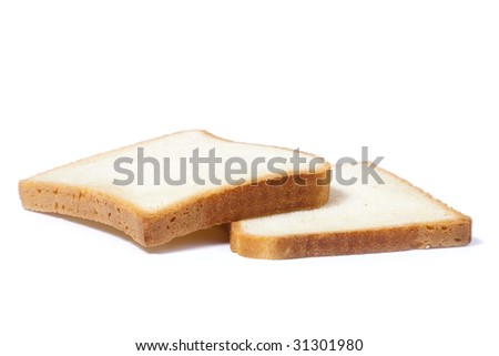 Bread slices isolated on a white background - stock photo