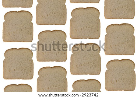 Bread slices isolated over a white background