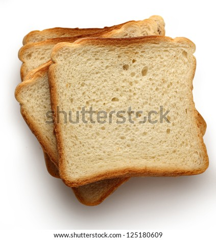 Bread slices on white background