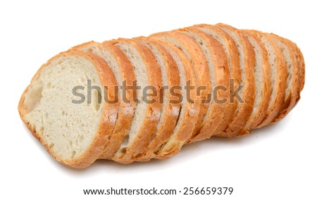 bread slices roll up on white background