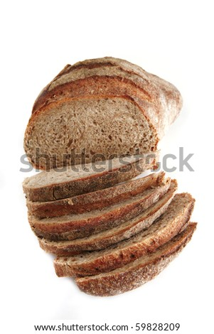 bread slices with chunk over white background - stock photo